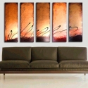 Image of Best Seller! 5 Bronze Chocolate Latte Sunset Art 14k Gold Abstract Painting