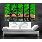 Image of 5 Green Tree Paintings Neon Green