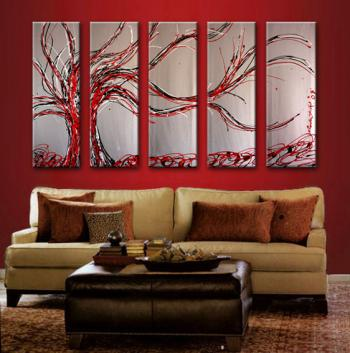Image of 5 Metallic Silver Red Cherry Tree Abstract Paintings Silver